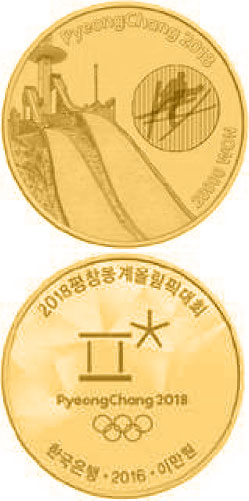Image of 20000 won coin - The PyeongChang 2018 Olympic Winter Games - Alpensia Ski Jumping Centre | South Korea 2016.  The Gold coin is of Proof quality.