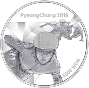 Image of 5000 won coin - The PyeongChang 2018 Olympic Winter Games – Short track speed skating | South Korea 2016.  The Silver coin is of Proof quality.