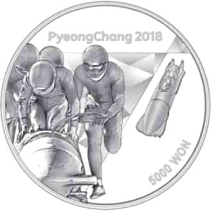 Image of 5000 won coin - The PyeongChang 2018 Olympic Winter Games – Bobsleigh | South Korea 2016.  The Silver coin is of Proof quality.