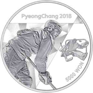 Image of 5000 won coin - The PyeongChang 2018 Olympic Winter Games – Ice hockey | South Korea 2016.  The Silver coin is of Proof quality.
