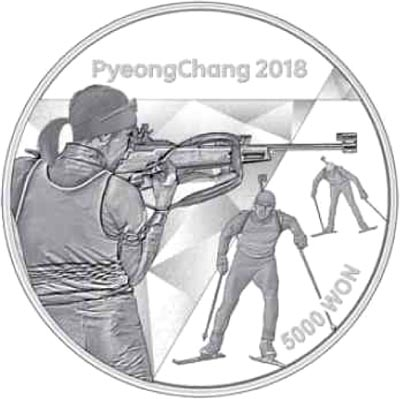 Image of 5000 won coin - The PyeongChang 2018 Olympic Winter Games – Biathlon | South Korea 2016.  The Silver coin is of Proof quality.