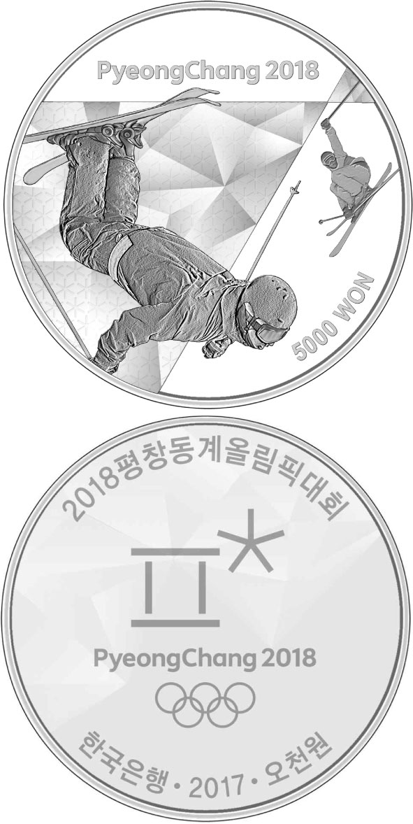 Image of 5000 won coin - The PyeongChang 2018 Olympic Winter Games – Freestyle skiing | South Korea 2017.  The Silver coin is of Proof quality.