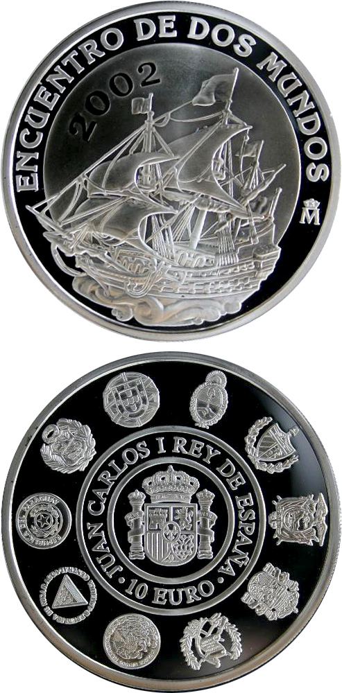 Image of 10 euro coin – V Iberoamerican Series – Sailing | Spain 2002.  The Silver coin is of Proof quality.