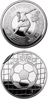 Image of Football World Cup 2002 Footballer  – 10 euro coin Spain 2002.  The Silver coin is of Proof quality.