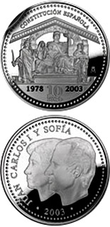 Image of 25th Aniversary Spanish Constitution – 10 euro coin Spain 2003.  The Silver coin is of Proof quality.