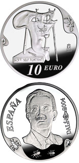 10 euro Centenary of the birth of Salvador Dalí - Soft self-portrait with fried bacon - 2004 - Series: Silver 10 euro coins - Spain