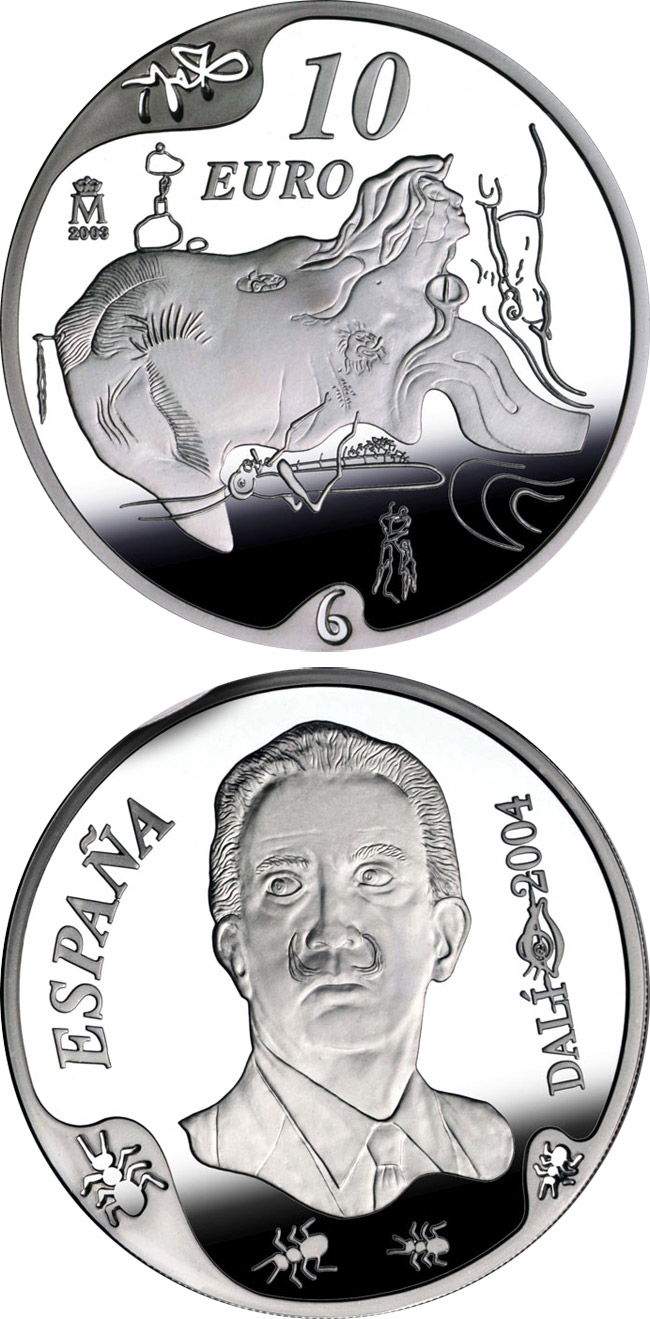 Image of 10 euro coin - Centenary of the birth of Salvador Dalí - The great masturbator | Spain 2004.  The Silver coin is of Proof quality.
