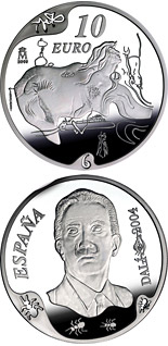 10 euro Centenary of the birth of Salvador Dalí - The great masturbator - 2004 - Series: Silver 10 euro coins - Spain