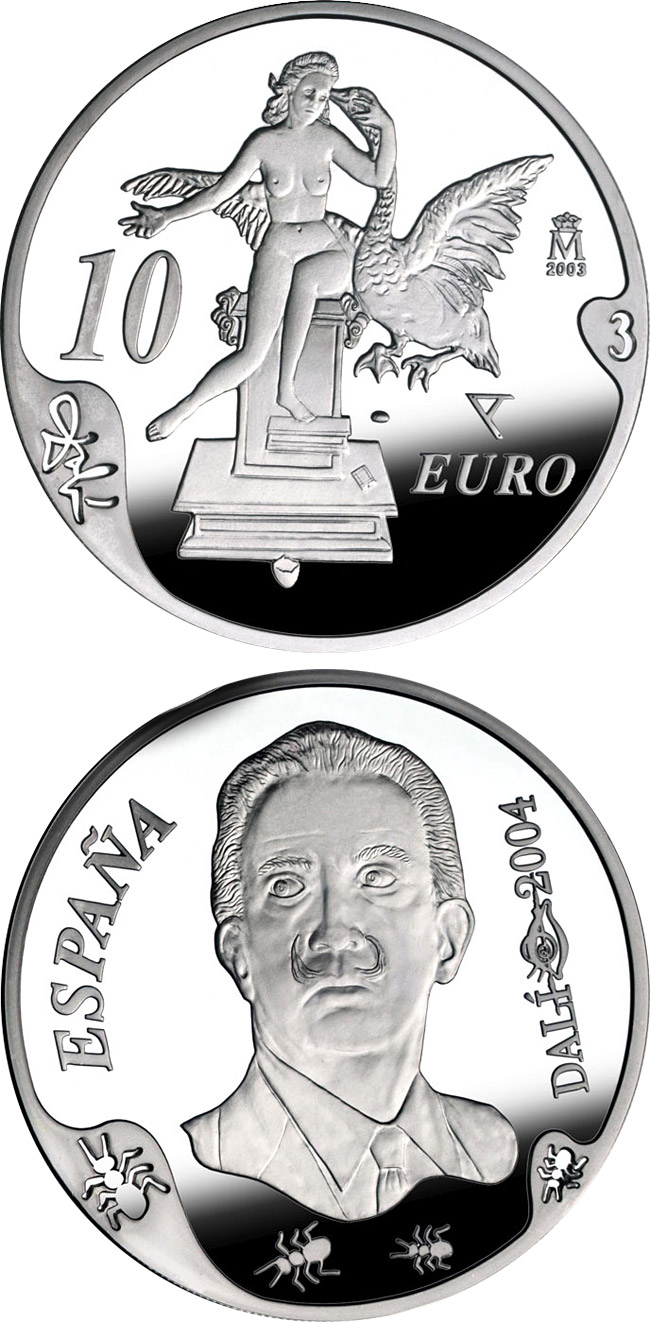Image of 10 euro coin - Centenary of the birth of Salvador Dalí – Atomic Leda | Spain 2004.  The Silver coin is of Proof quality.
