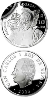 Image of 10 euro coin - Fifth Centenary of the birth of Miguel López de Legazpi | Spain 2003.  The Silver coin is of Proof quality.