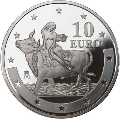 Image of 10 euro coin – First anniversary of the euro | Spain 2003.  The Silver coin is of Proof quality.