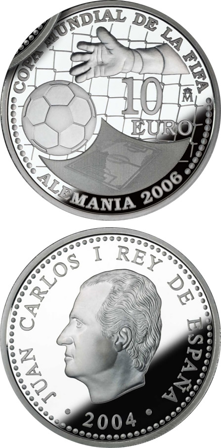 Image of 10 euro coin - FIFA World Cup Germany 2006 – Issue 2004 | Spain 2004.  The Silver coin is of Proof quality.