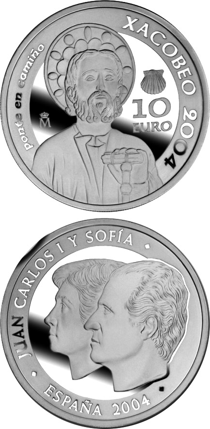 Image of Holy Year Xacobeo 2004 – 10 euro coin Spain 2004.  The Silver coin is of Proof quality.