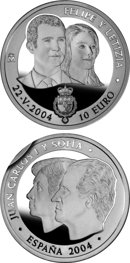 Image of Felipe and Letizia – 10 euro coin Spain 2004.  The Silver coin is of Proof quality.