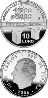 10 euro 20th Anniversary of the Spanish and Portugal joining to the European Community - 2006 - Series: Silver 10 euro coins - Spain