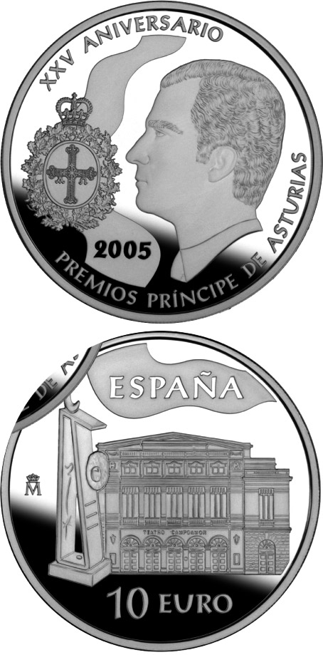 Image of 10 euro coin – 25th Anniversary of the Prince Asturias Awards | Spain 2005.  The Silver coin is of Proof quality.