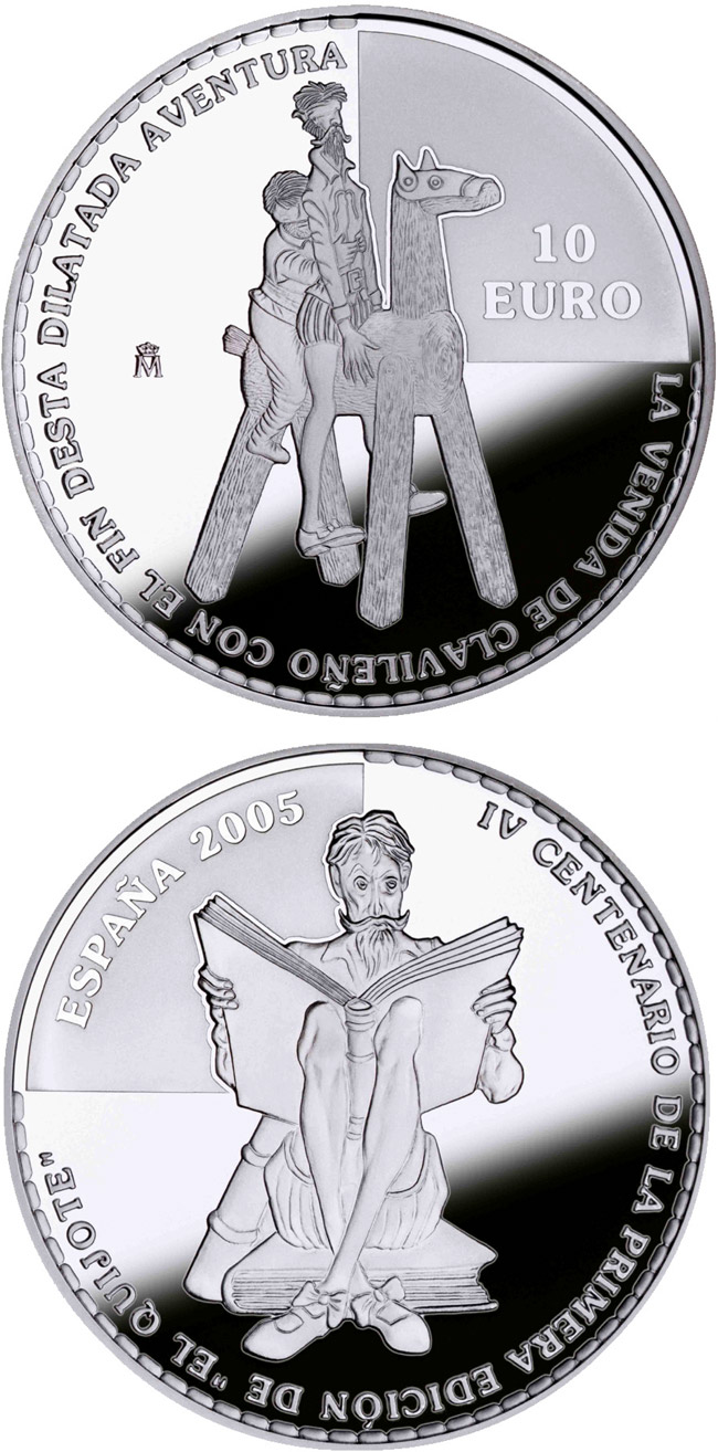 10 euro 4th Centenary of the publication of Don Quixote – D.Quijote and Sancho mounting Clavileño  - 2005 - Series: Silver 10 euro coins - Spain