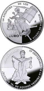 10 euro coin 4th Centenary of the publication of Don Quixote – D.Quijote knocked down by a windmill  | Spain 2005