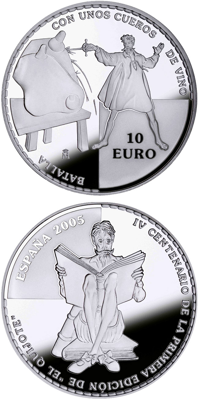 Image of a coin 10 euro | Spain | 4th Centenary of the publication of Don Quixote – D.Quijote stabbing wineskins  | 2005