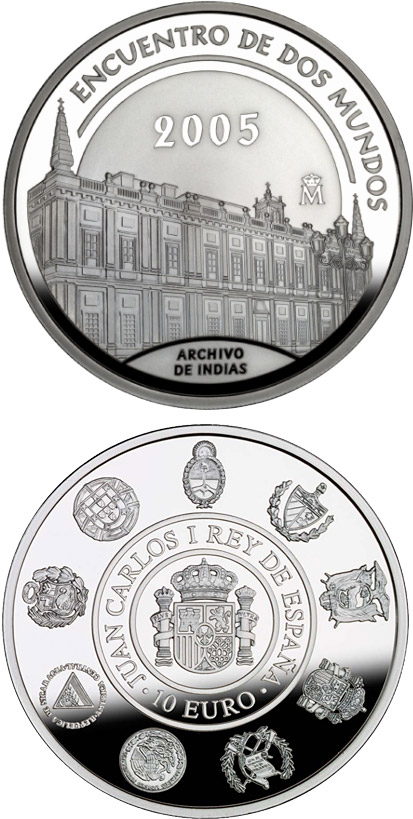 Image of 10 euro coin - VI Iberian-American Series: Architecture and Monuments | Spain 2005.  The Silver coin is of Proof quality.
