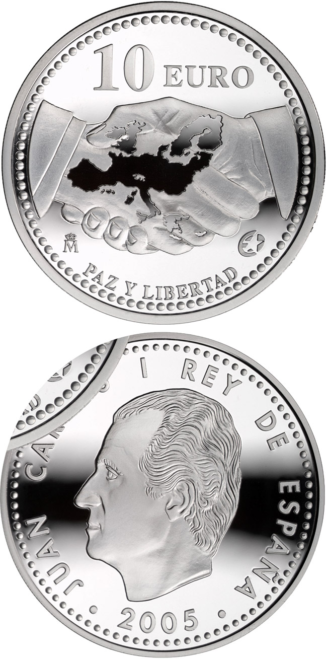 Image of 10 euro coin – The Europa Program - Peace and Freedom | Spain 2005.  The Silver coin is of Proof quality.