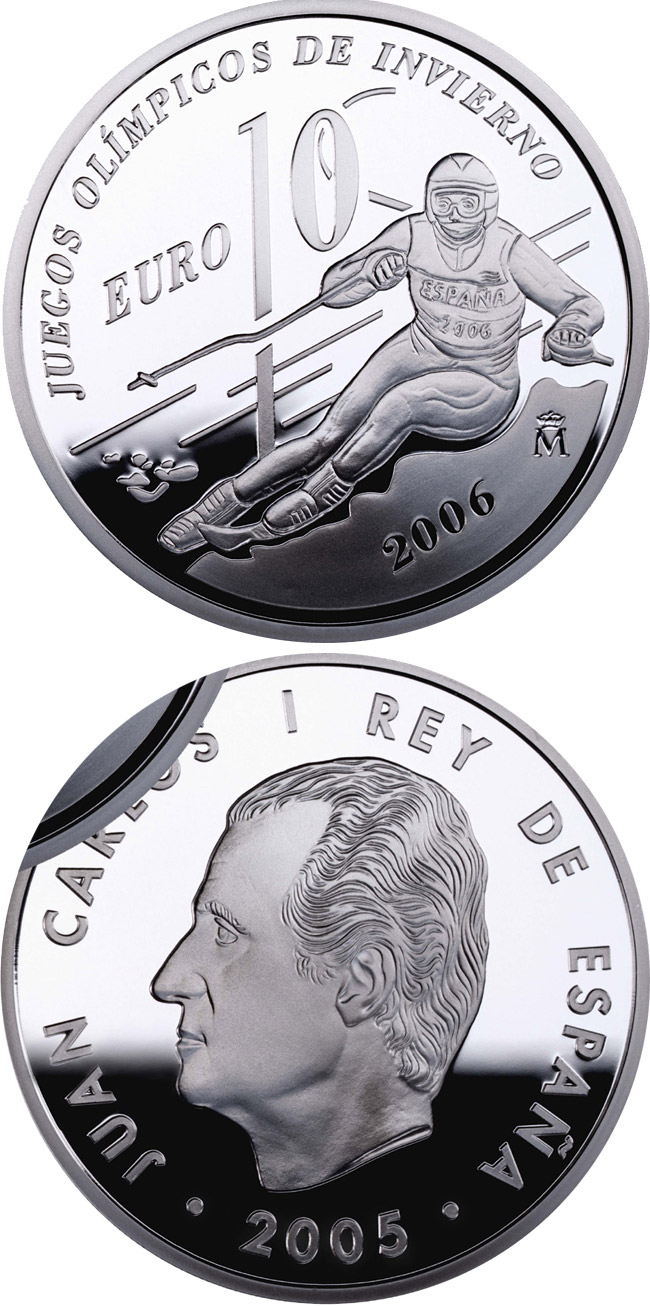 Image of a coin 10 euro | Spain | The Winter Olympic Games 2006 | 2005
