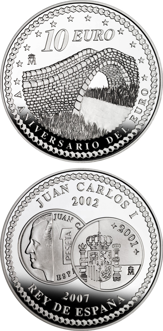 Image of 10 euro coin - 5th Anniversary of the Euro – Union | Spain 2007.  The Silver coin is of Proof quality.