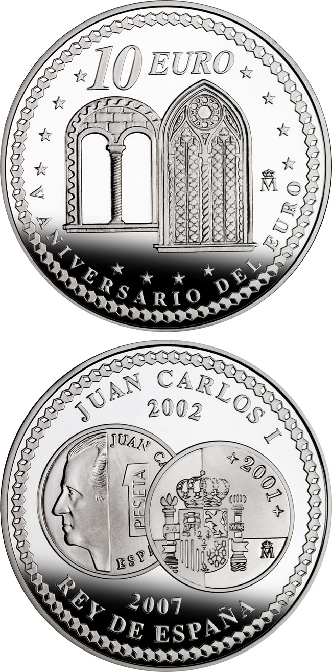 Image of 10 euro coin – 5th Anniversary of the Euro – Liberalism | Spain 2007.  The Silver coin is of Proof quality.