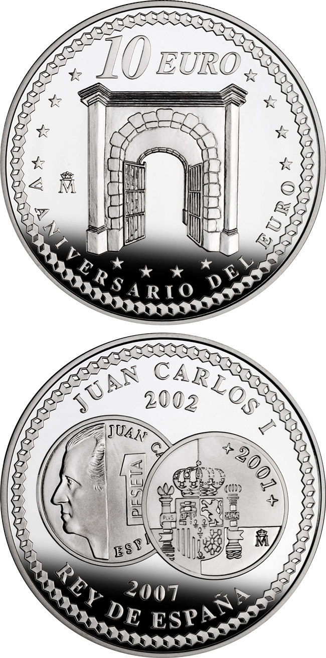 Image of a coin 10 euro | Spain | 5th Anniversary of the Euro – Cooperation | 2007