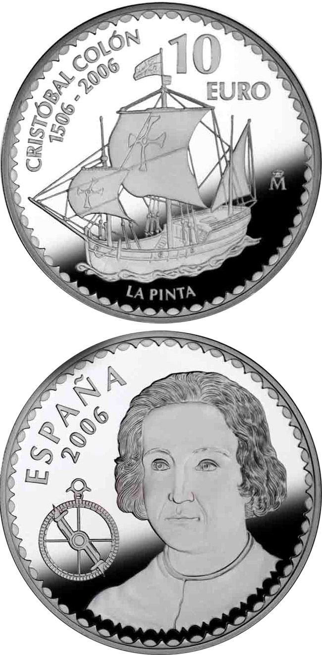 Image of 10 euro coin - Christopher Columbus 5th Centenary - La Pinta | Spain 2006.  The Silver coin is of Proof quality.