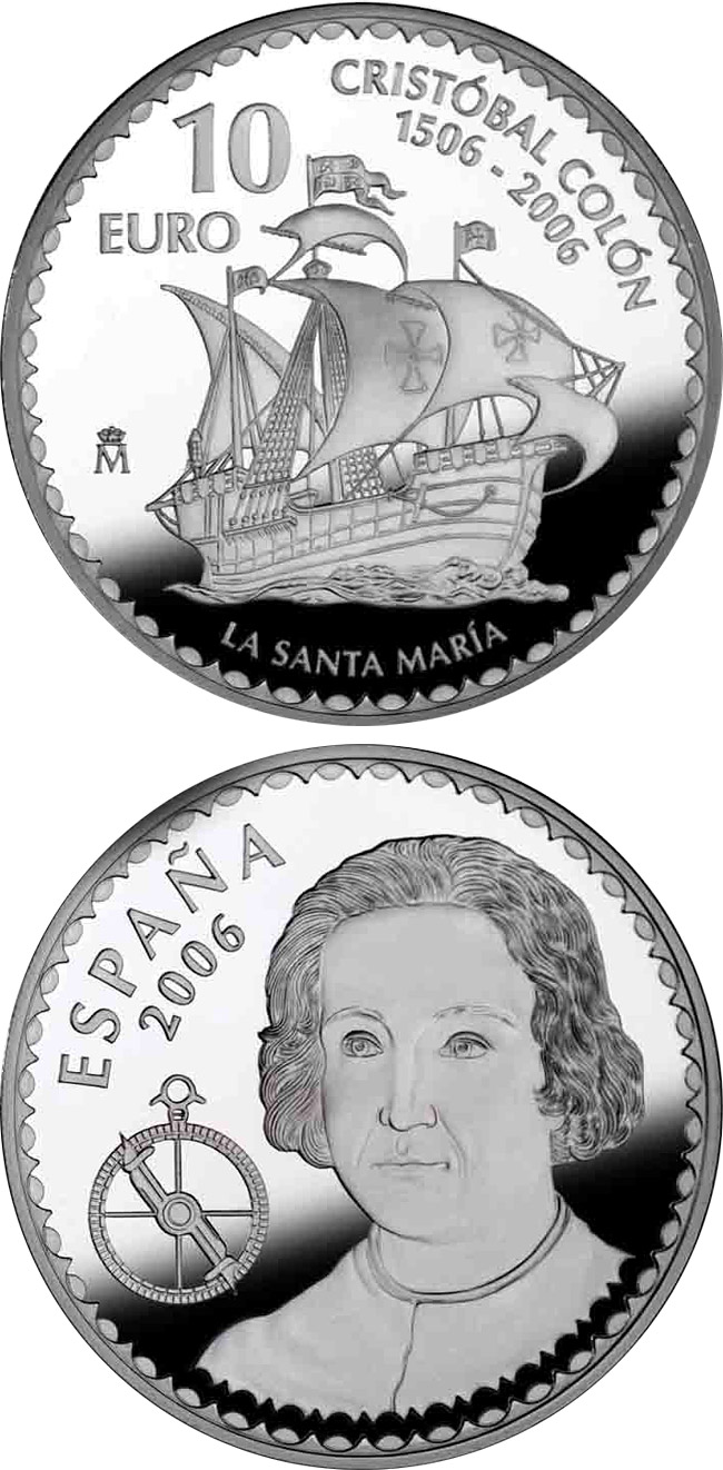 Image of 10 euro coin - Christopher Columbus 5th Centenary - Santa Maria | Spain 2006.  The Silver coin is of Proof quality.