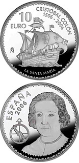 10 euro coin Christopher Columbus 5th Centenary - Santa Maria | Spain 2006