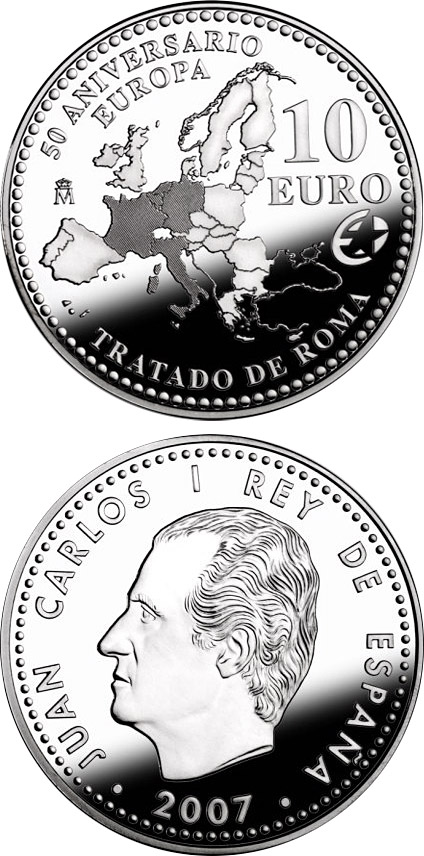 Image of 10 euro coin The Europa Program – 50th Anniversary of the Treaty of Rome | Spain 2007.  The Silver coin is of Proof quality.