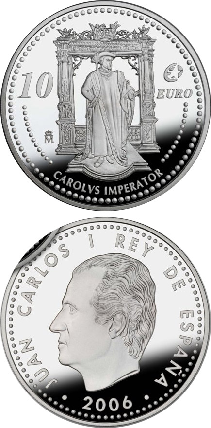 Image of 10 euro coin - The Europa Program – Charles V | Spain 2006.  The Silver coin is of Proof quality.
