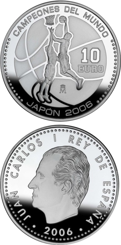 Image of 10 euro coin - World Basketball Champions - Japan 2006 | Spain 2006.  The Silver coin is of Proof quality.