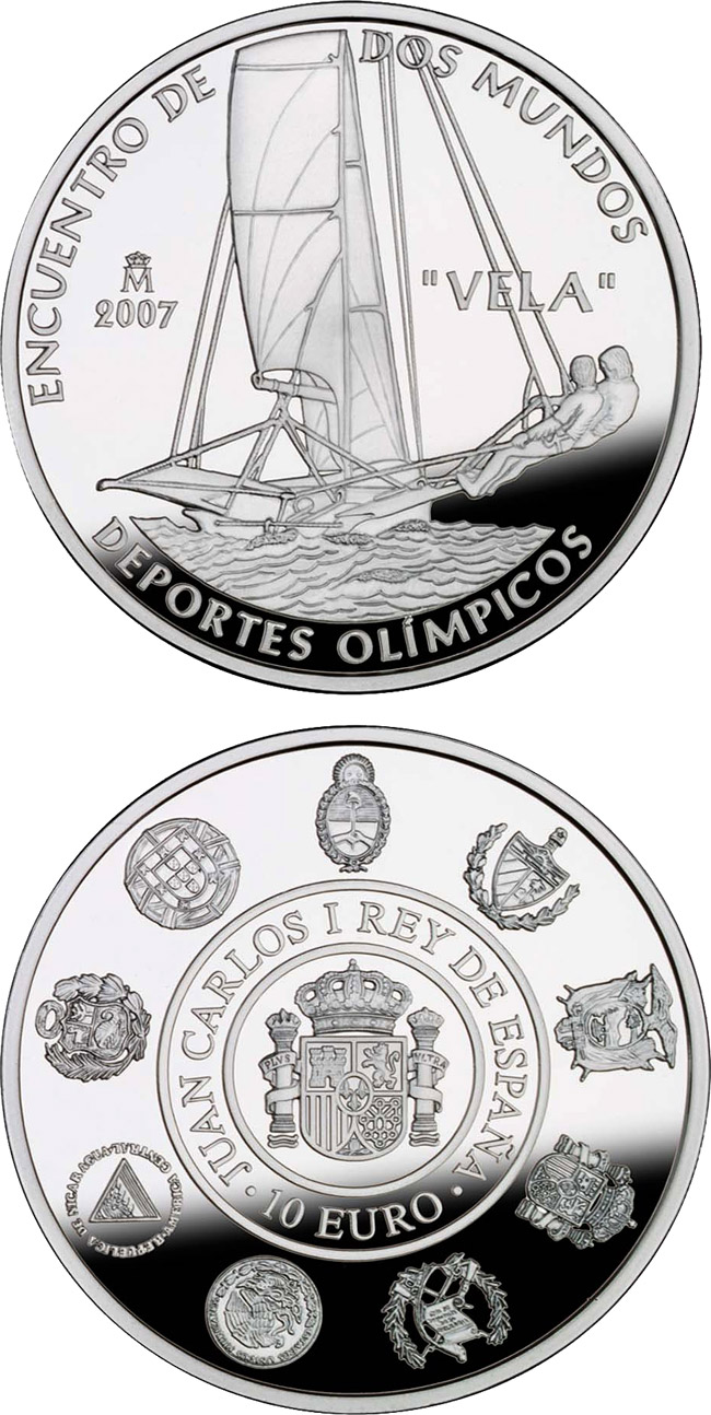 Image of 10 euro coin - VII Iberian-American Series: Olympic sports | Spain 2008.  The Silver coin is of Proof quality.