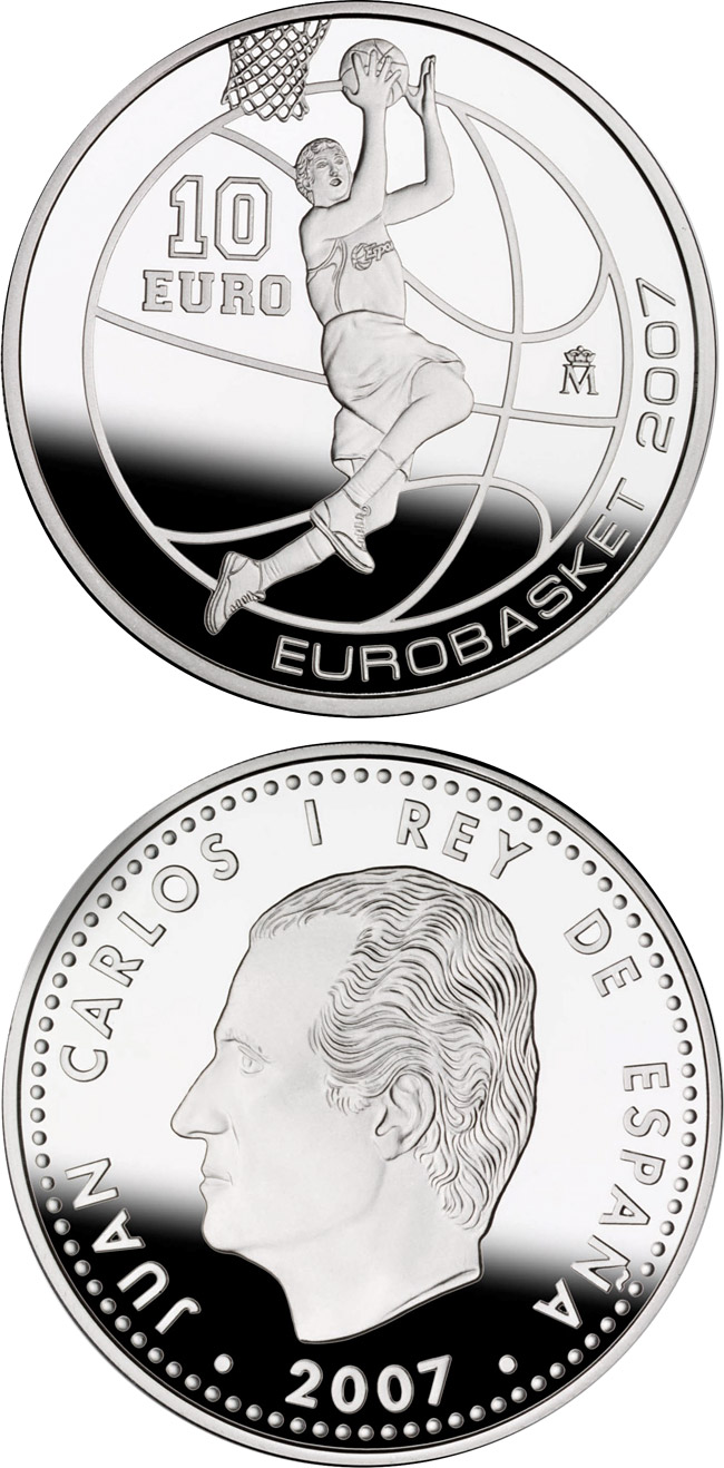 Image of 10 euro coin – Eurobasket 2007 | Spain 2007.  The Silver coin is of Proof quality.