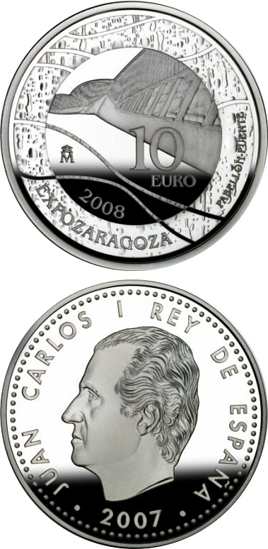 Image of 10 euro coin - Expo Zaragoza 2008 - Bridge-Pavilion  | Spain 2007.  The Silver coin is of Proof quality.