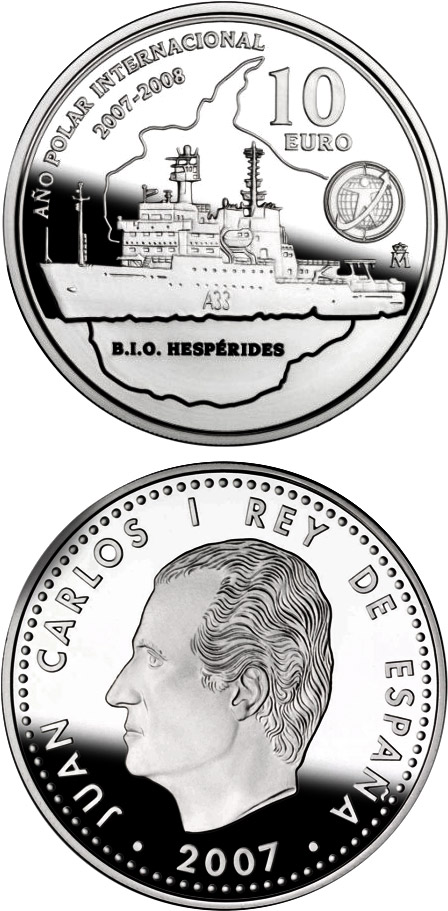 Image of 10 euro coin – International Polar Year | Spain 2007.  The Silver coin is of Proof quality.