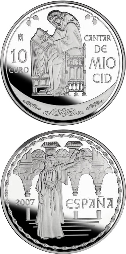 Image of 10 euro coin – The Song of My Cid | Spain 2007.  The Silver coin is of Proof quality.