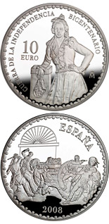 10 euro Bicentenary War of Independence - Death of Daoiz by Manuel Castellano  - 2008 - Series: Silver 10 euro coins - Spain