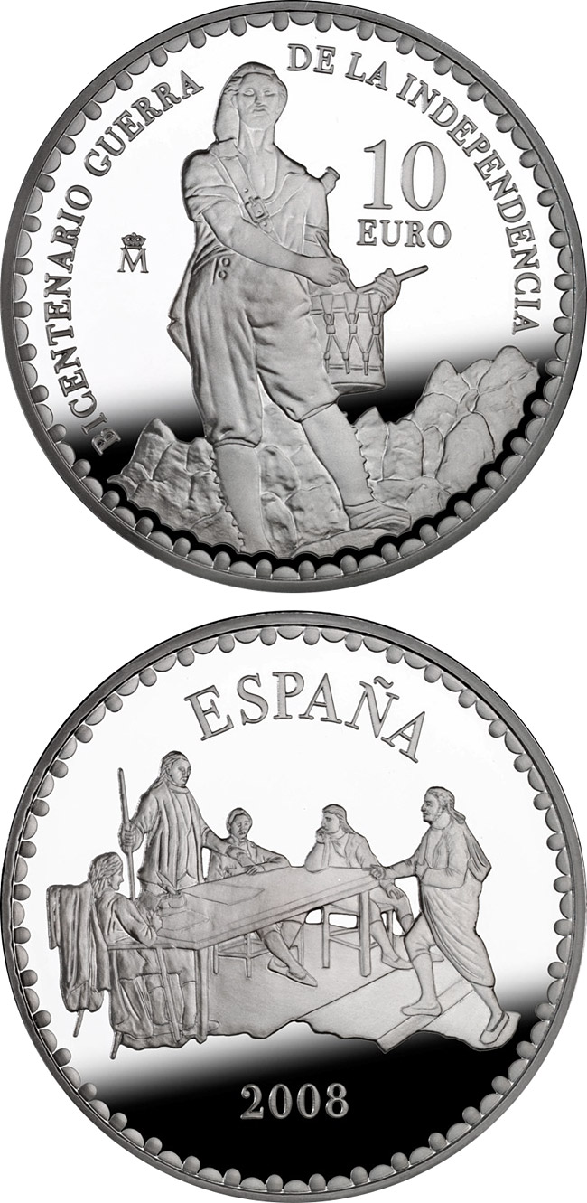 Image of 10 euro coin - Bicentenary War of Independence - Edict of the Mayors of Móstoles  | Spain 2008.  The Silver coin is of Proof quality.