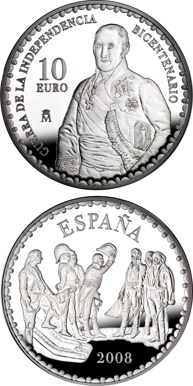Image of 10 euro coin - Bicentenary War of Independence - The Surrender of Bailén by Alisal  | Spain 2008.  The Silver coin is of Proof quality.