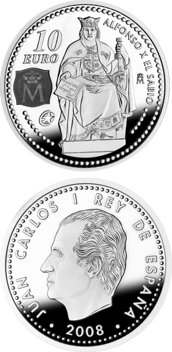 Image of 10 euro coin - Europa Program-Alphonse X the Wise | Spain 2008.  The Silver coin is of Proof quality.