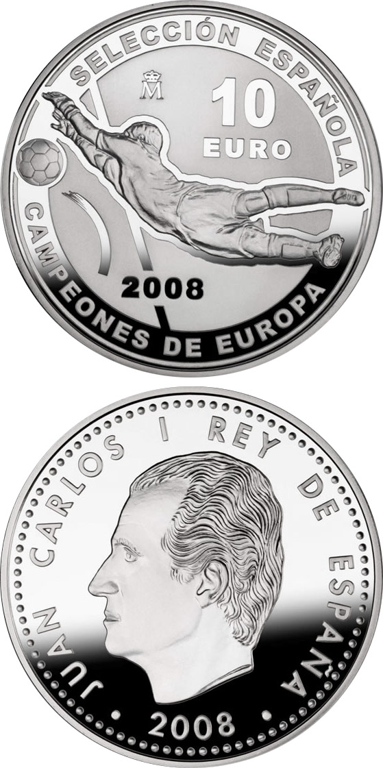 Image of 10 euro coin - European Champions 2008 | Spain 2008.  The Silver coin is of Proof quality.