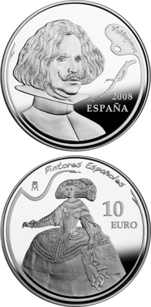 Image of 10 euro coin - Spanish Painters Series - Velázquez | Spain 2008.  The Silver coin is of Proof quality.