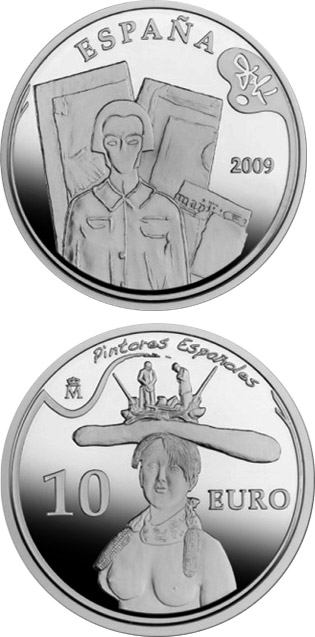 10 euro 2nd Series Spanish Painters – Dalí - Retrospective Bust of a Woman - 2009 - Series: Silver 10 euro coins - Spain