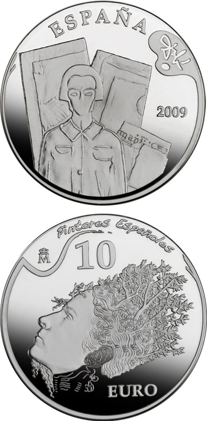 Image of 10 euro coin - 2nd Series Spanish Painters – Dalí - Portrait of Pablo Picasso in the 21st Century | Spain 2009.  The Silver coin is of Proof quality.