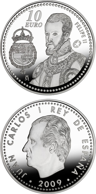 Image of 10 euro coin - Europa Program- Felipe II | Spain 2009.  The Silver coin is of Proof quality.