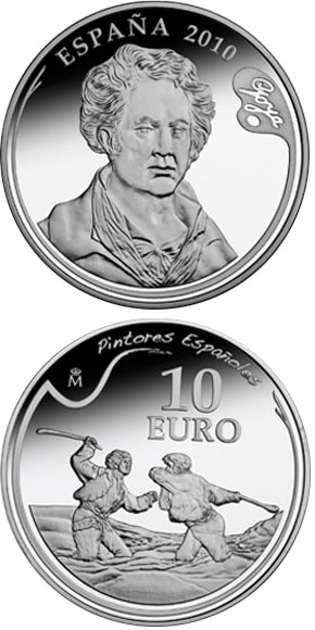 Image of 10 euro coin – 3rd Series Spanish Painters – Goya - Duel with Cudgels | Spain 2010.  The Silver coin is of Proof quality.